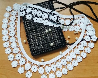 Retro Style Crochet Collar Necklace with Pearl Button | Handmade Detachable Peter Pan Lace Collar