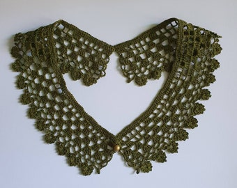 Linen Moss Green Crochet Collar with Old Gold Button | Detachable Peter Pan Collar Necklace | Woman's Fashion and Accessories