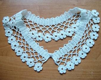Crochet Collar Necklace | White Peter Pan Lace Collar | Detachable Handmade Floral Edges Collar | Lace Crochet Collar