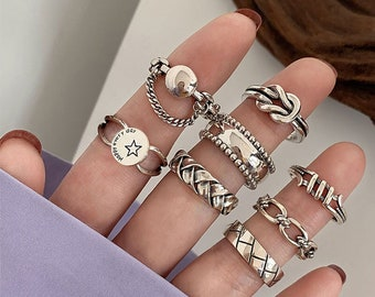 Sterling Silver Adjustable Ring Stackable Ring Thai Silver 8 Piece