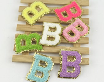 ADHESIVE colorful glitter Chenille Embroidered Letters A-Z Applique Patch, Name Letters Patch, stick Patches