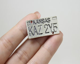 Sam Winchester Dean Winchester Initials Car Charm with Kansas License Plate Supernatural Keychain Winchester Brothers Key chain