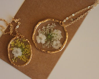 Pressed Flower Necklace| PERSONALISED| Resin Pendant Necklace| 17x21mm