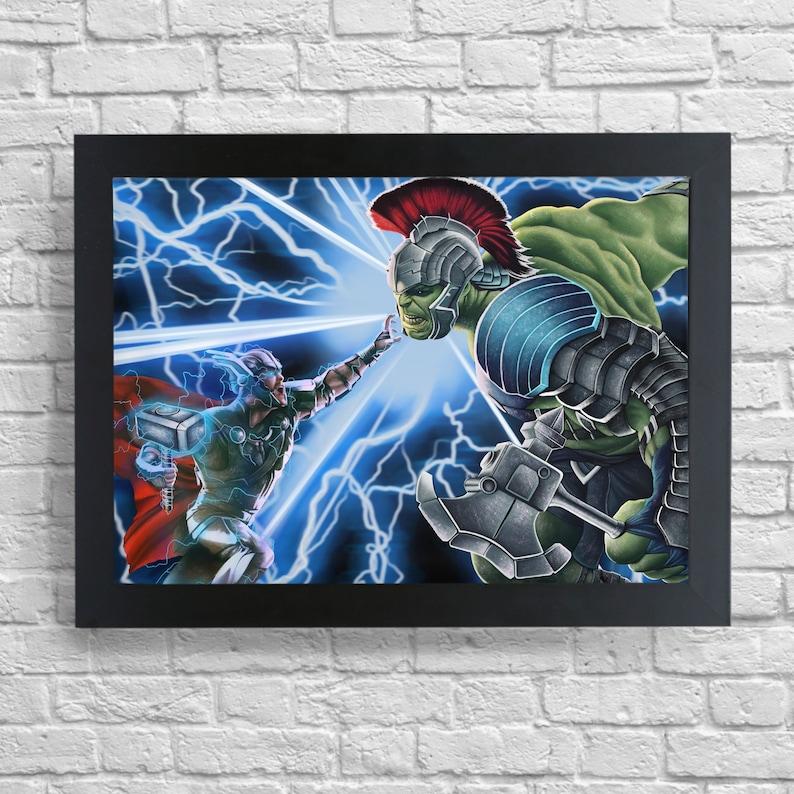 ragnarok Framed A4 Thor vs Hulk print