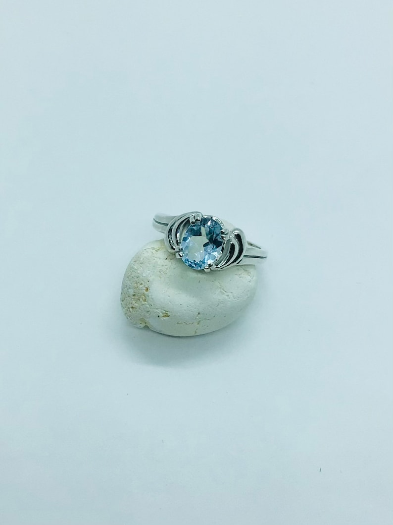 blue topaz  ring Natural  Citrine 8x 6 mm stone originally from Ceylon Anniversary  and gift specially for Engagement