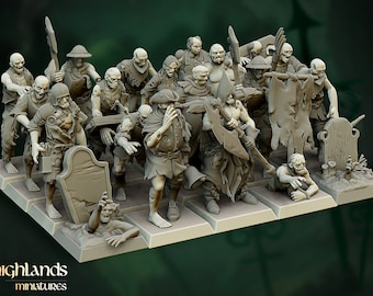 Zombie Horde | 32mm / 28mm | Ideal for Tabletop RPGs | Dungeons and Dragons - Highlands Miniatures