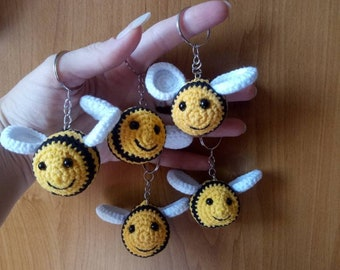 Bumble bee keychain. Christmas gift. Birthday gift. Bumble bee crocheted. Keychain amigurumi. Handmade. Best gift for any occasion.Soft gift