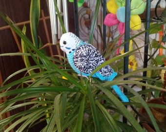 Blue parrot, crochettoys parrot, amigurumi parrot, handmade, soft toys parrot, cute gift, blue budgie plush. Christmas budgie gift parrot