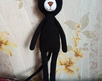 Cat.  Crochet cat toy black, big black cat, softoy, handmade, gift for a child, wonderful gift, gift for a newborn, cute cat, amigurumi