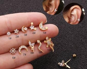 Stainless Steel Screw Zircon Cartilage Earring, Helix Piercing