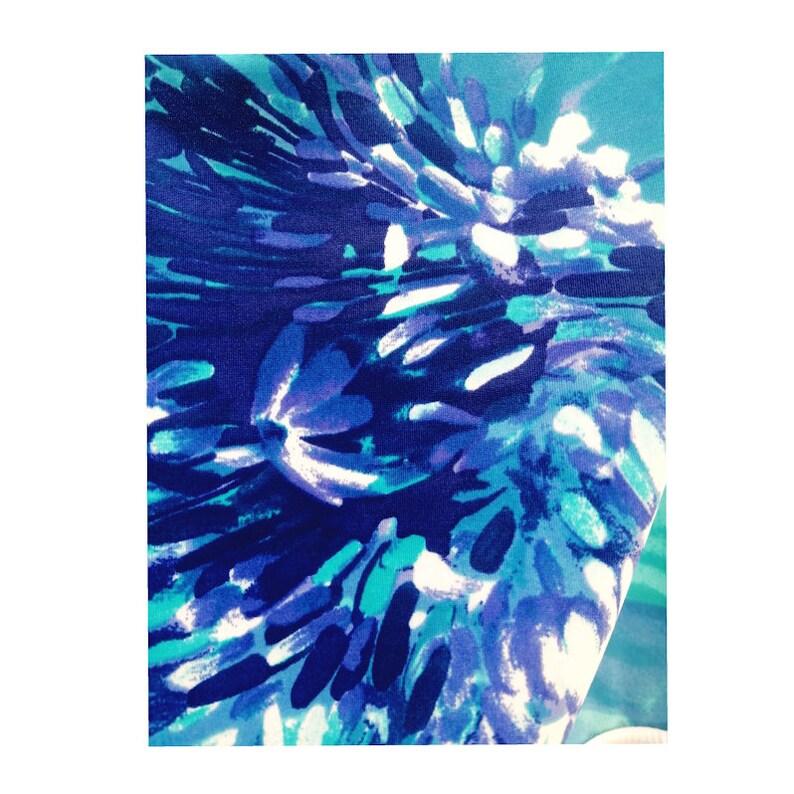 CUTE STRAPPY /'Flora Azul/' Leotard for GymnasticsDance Blue flower printed WorkoutTraining Leotard Swimsuit navy lycra White straps