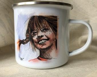 Funny Pippi enamel cup