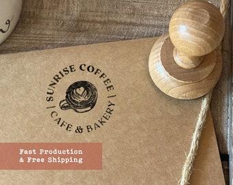 Custom Logo Stamper | Marketing Rubber Stamp | Business Logo Stamp | Wood Business Stamp
