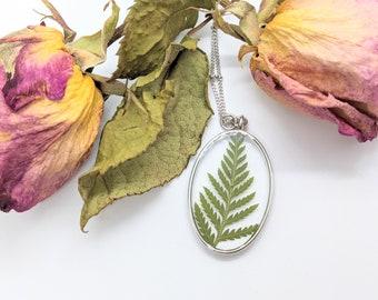 Fern Necklace, Nature Necklace, Terrarium Necklace, Pressed Flower Necklace, Botanical Necklace