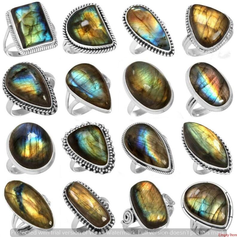 925 Sterling Silver Plated Ring Handmade Jewelry Woman /& man s Ring Natural 100 Pcs Labradorite Gemstone Ring Wholesale Lot Ring