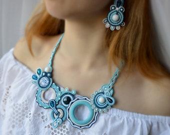 Light Blue Set Necklace Earrings Soutache , Original Handmade soutache Jewelry