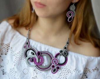 Necklaces and Earrings Lilac Soutache, Boho style soutache Embroidered jewelry made of Natural Cotton, Handmade