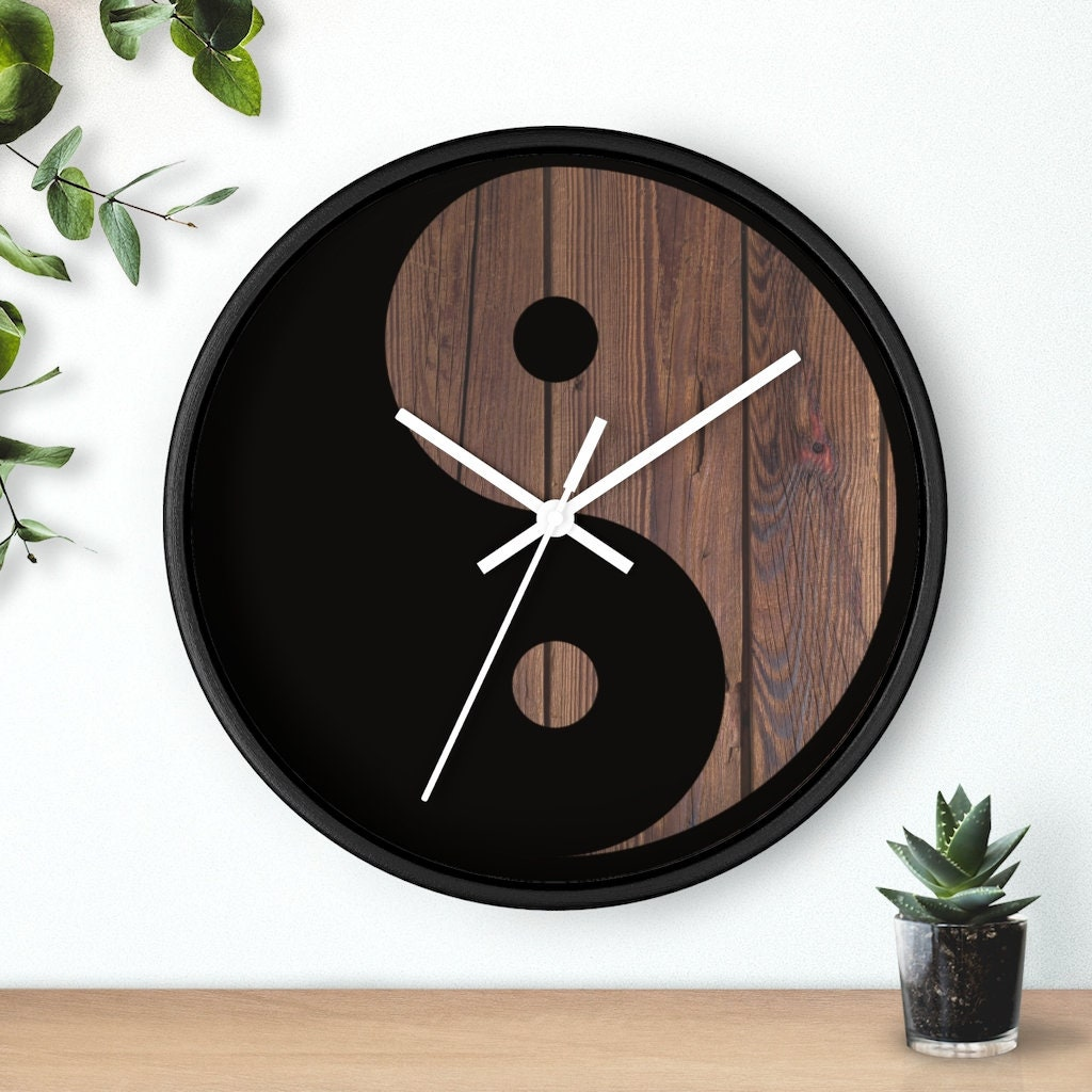 yin yang wanduhr yin yang uhr retro vintage uhr  etsy
