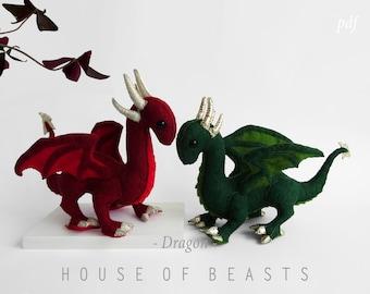 Dragon DIY stuffed felt animal. Sewing pattern and guide.