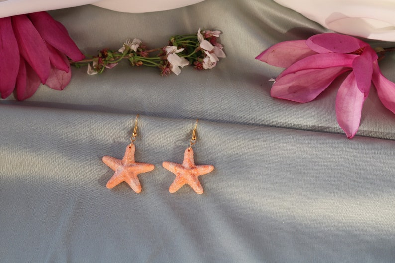 Starfish earrings tropical earrings white starfish earrings beach earrings summer fun orange starfish earrings polymer clay earrings