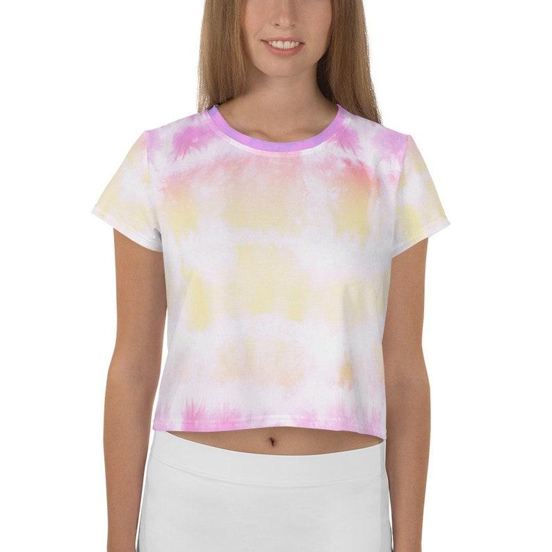 Rainbow cute and happy tie dye All-Over Print Crop Tee