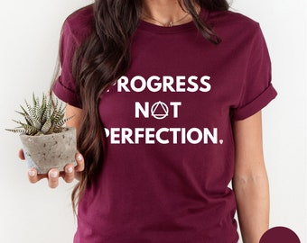 Progress Not Perfection Shirt   Sober Shirt   Sober Anniversary Gift   Addiction Awareness   AA Recovery Gifts   Mental Health Matters