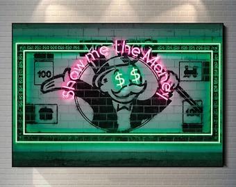 Show Me The Money Art Canvas Painting Street Graffiti