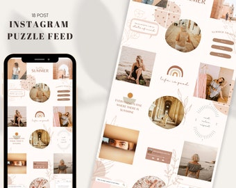 Instagram Puzzle Feed Template Canva   Boho Chic Summer   Vintage Instagram Template   Grid Feed 18 Customizable Posts   Neutral Beige Feed