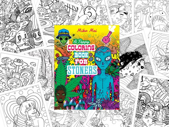 Trippy Coloring Book For Stoners : 30-Page PDF Etsy