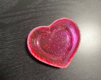Resin Heart Dish Resin Heart Jewelry Dish Clear with Chunky Multicolor Glitter Resin Trinket Dish
