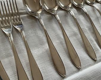 Swedish Forks and Knives Set Monogrammed Vintage Silverplate Flatware Vintage Scandinavian Prima Silver Silverware