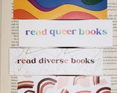 Read Queer Books Diverse Books Pride Month  Bookmark Gift for Book Lovers Artistic Book Mark for Bookstagram Gift Under 5