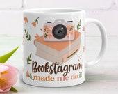Bookstagram Made Me Do It Mug With Retro Camera, Flowers, and Books for Bibliophiles