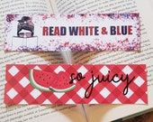 Read White and Blue Summer Bookmarks Patriotic Summer Reading Bookish Girl Bookmark July 4th Fruit Bookmark Red Gingham Watermelon Bookmark