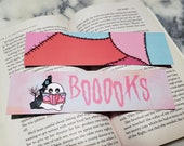 Booooks Bookish Ghost Bookmark for Halloween Bibliophile Pastel Goth Bookmark for Reader Gift Spooky Cute Book Mark