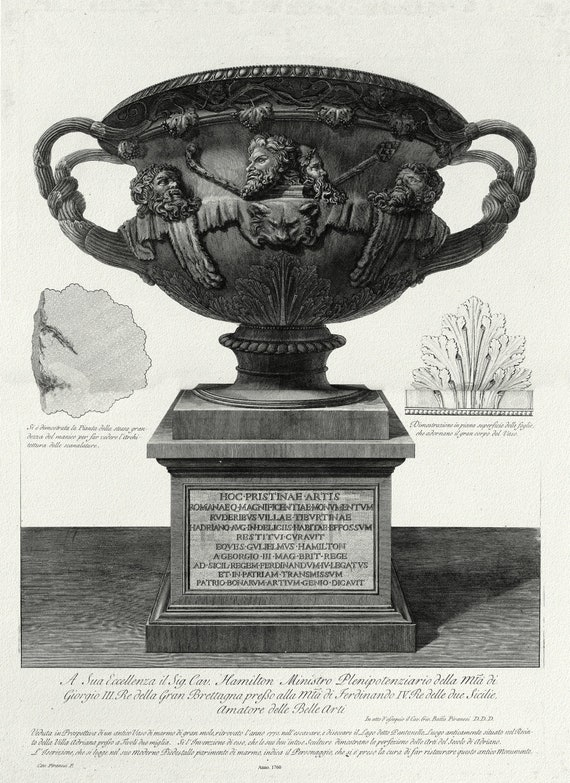 "Giovanni Battista Piranesi, Vase with Pedestal,  c. 1760,  on heavy cotton canvas, 22x27"" approx."