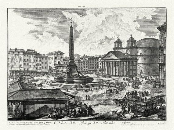 """Giovanni Battista Piranesi, Veduta Della Piazza della Rotunda, 1764 , etching on canvas, 50 x 70cm, 20 x 25"""" approx."""