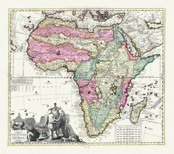 """Visscher, Africae in Tabula Geographica Delineatio, 1740, map on heavy cotton canvas, 22x27"""" approx."""