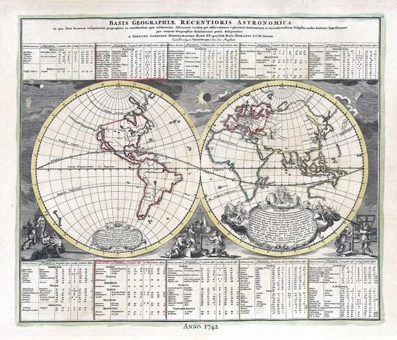 "E Basis Geographiae Recentioris Astronomia, 1742, Doppelmayr auth., map on heavy cotton canvas, 50 x 70cm, 20 x 25"" approx."