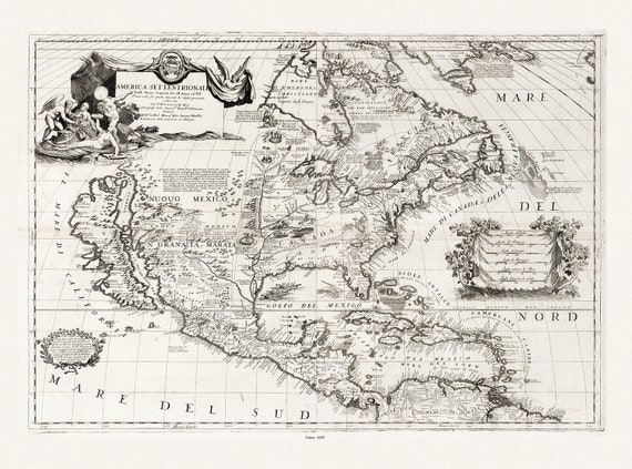 "Coronelli, Composite Map America Settentrionale, 1693,, map on heavy cotton canvas, 22x27"" approx."