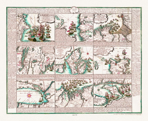 """Frederic, Anglo-French naval encounters in 1758, map on heavy cotton canvas, 22x27"""" approx."""