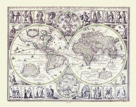 Blaue, Nouvelle et Exacte description du Globe Terrestre, 1645, Map on heavy cotton canvas, 22x27in. approx.