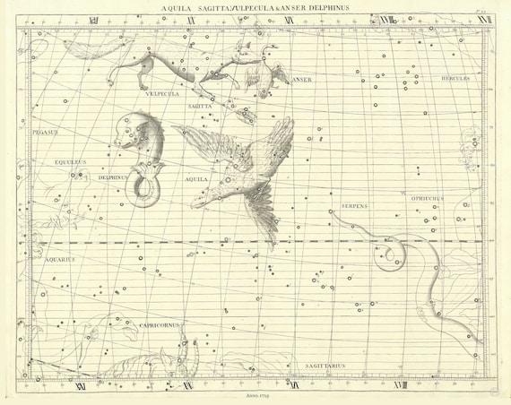 "Aquila, Sagitta, Vulpecula & Anser, Delphinus, 1729, Flamsteed auth., celestial map on heavy cotton canvas, 50 x 70cm, 20 x 25"" approx."