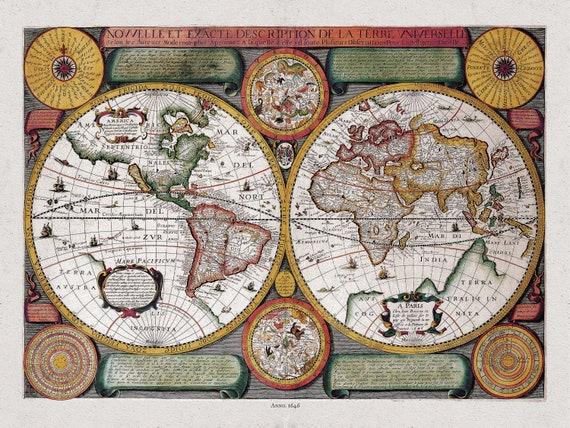 Boisseau, Nouvelle Exacte Description de la Terre Universelle, 1646 D, Map on heavy cotton canvas, 22x27in. approx.