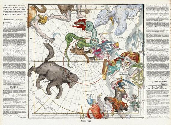 "Celestial, Plate I, 1693, Pardies auth,, celestial map on heavy cotton canvas, 50 x 70cm, 20 x 25"" approx."