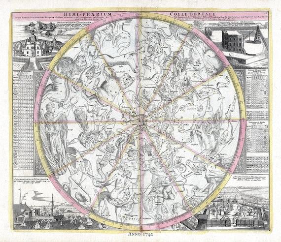 "Hemispharium Coeli Boreale, 1742, Doppelmayr auth. , celestial map on heavy cotton canvas, 50 x 70cm, 20 x 25"" approx."