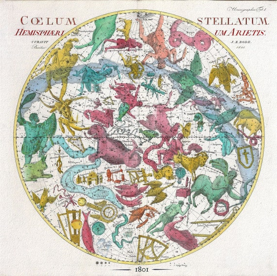 """Celestial Sphere I, 1801, Bode auth., map on heavy cotton canvas, 50 x 70cm, 20 x 25"""" approx."""