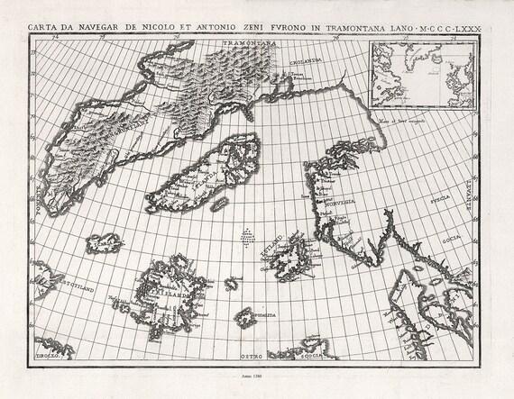 "Atlantic Ocean: Zurla,  Carta Da Navegar De Nicolo et Antonio Zeni Fvrono In Tramontana Lano, 1380, map on cotton canvas, 22x27"" approx."