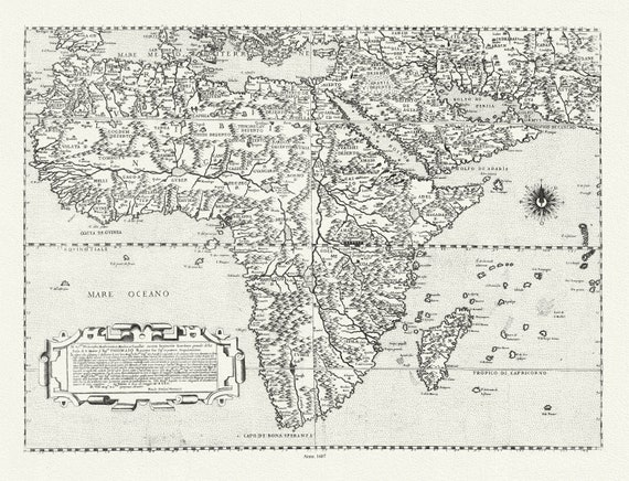 """Forlani, Paulo, Africa, 1562, map on heavy cotton canvas, 22x27"""" approx."""