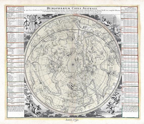 "Hemisphaerium Coeli Australe, Doppelmayr auth. , celestial map on heavy cotton canvas, 50 x 70cm, 20 x 25"" approx."